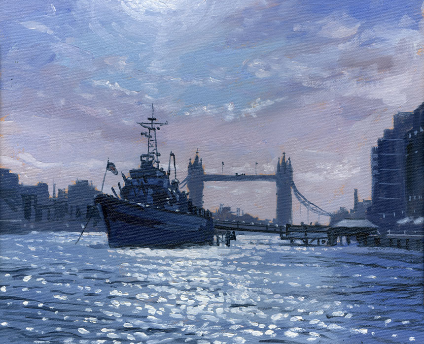 HMS Belfast, Thames, London, London Bridge, Plein air, oil painting
