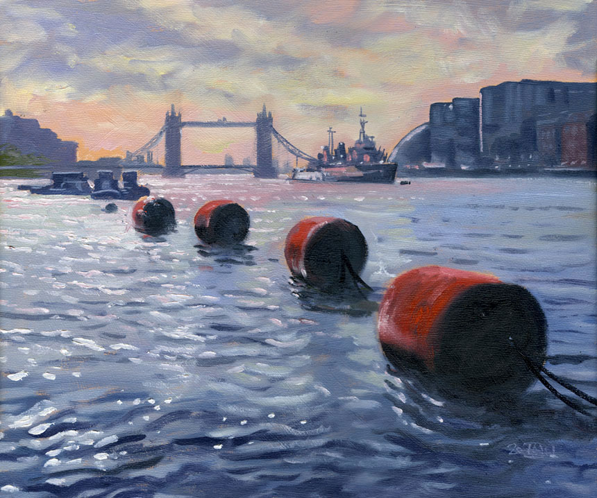 Buoys, Thames, HMS Belfast, Tower Bridge, London, Plein air, oil painting