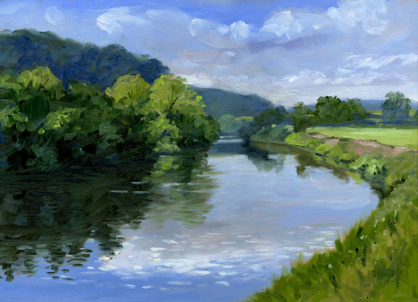 Wye Valley, oil painting, art, Rob Adams, Herefordshire