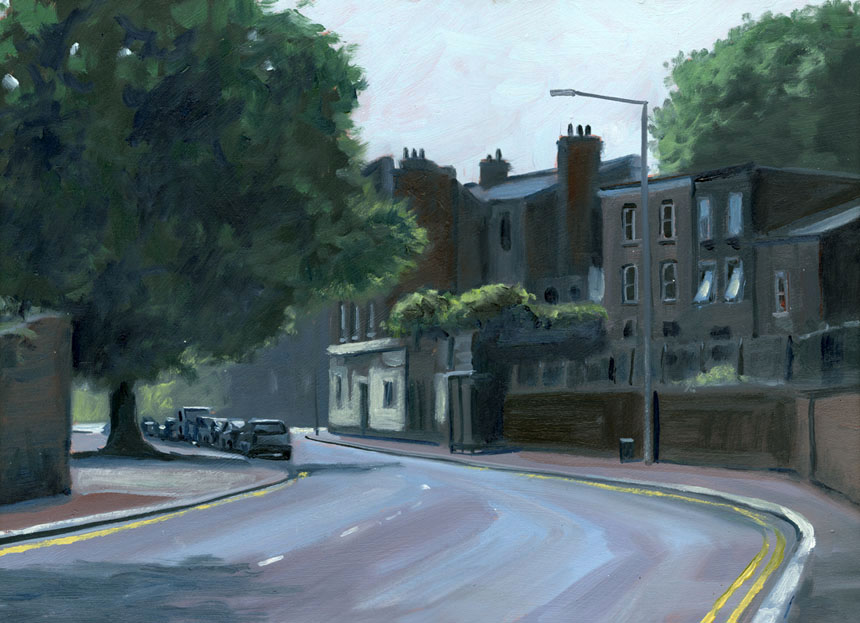 Brookmill, Road, London, urban, street, oil, painting, Rob Adams