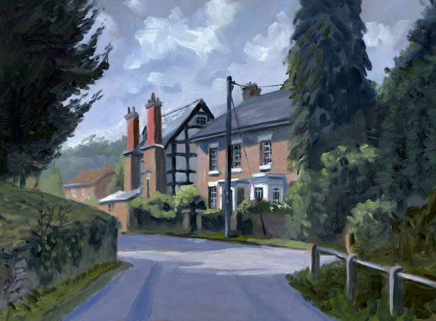 Fownhope, wye valley, herefordshire, village, oil painting, Rob Adams