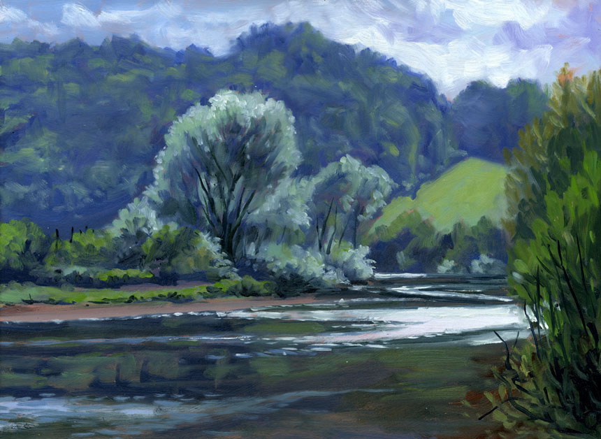 Wye Valley, river, Herefordshire, oil painting , Rob Adams