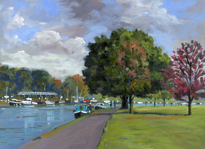 Henley, Thames, River, oils, plein air, painting, Rob Adams