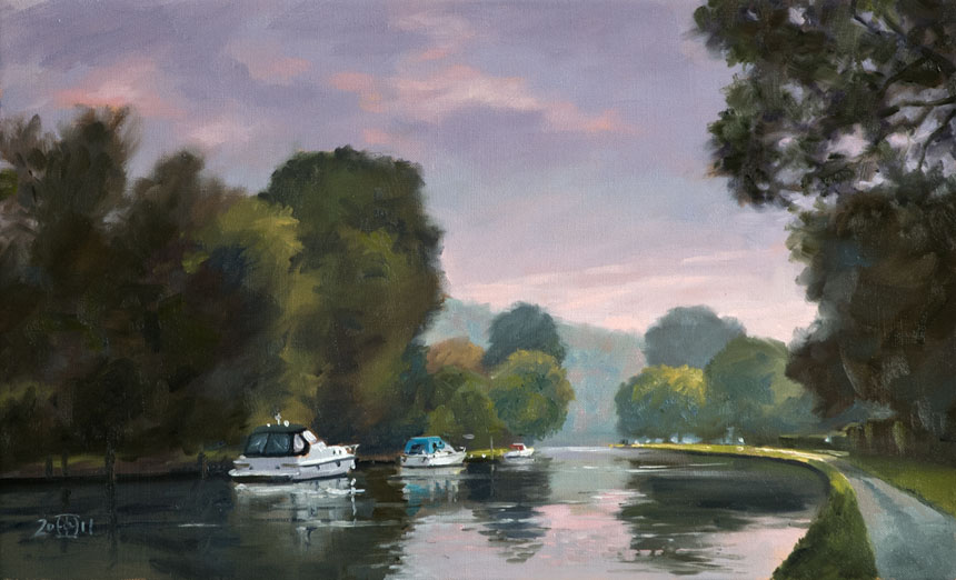 Henley on Thames, Thames, river, dawn, oil painting, rob adams