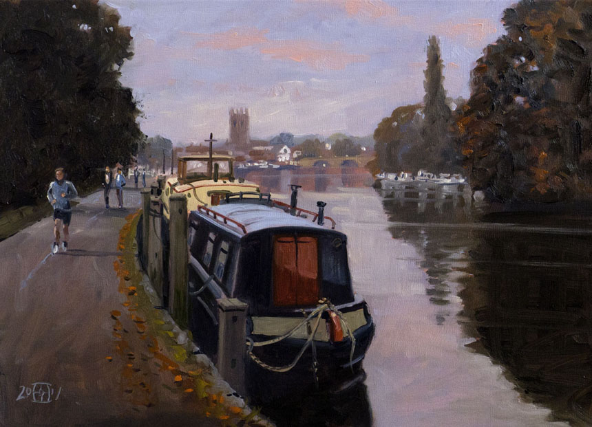 Henley on Thames, Surrey, Oil painting, rob adams, river, barge
