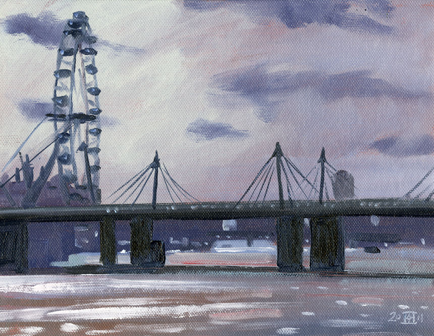 London Eye, Thames, Hungerford Bridge, Plein air oil painting, Rob Adams