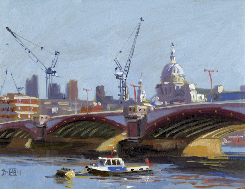 St Pauls, Thames, River ,London, city, oil painting, plein air, Rob Adams