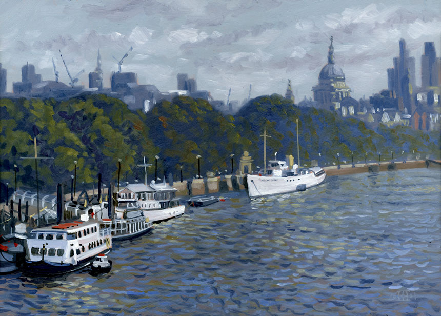 River, Thames, St Pauls, ships, London, River, Plein air, Rob adams