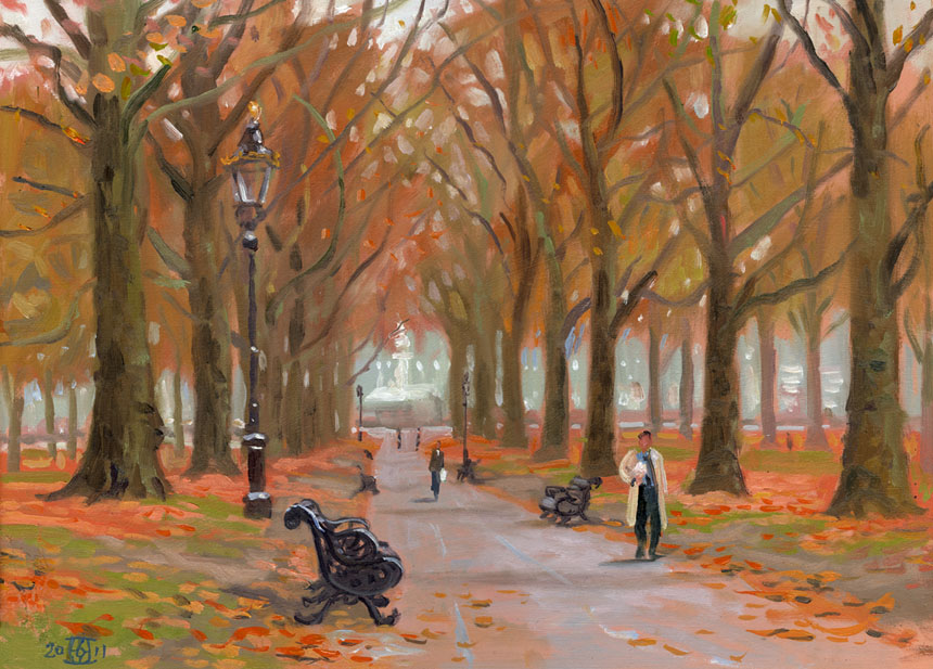 Green Park, London, oils, plein air, Rob Adams