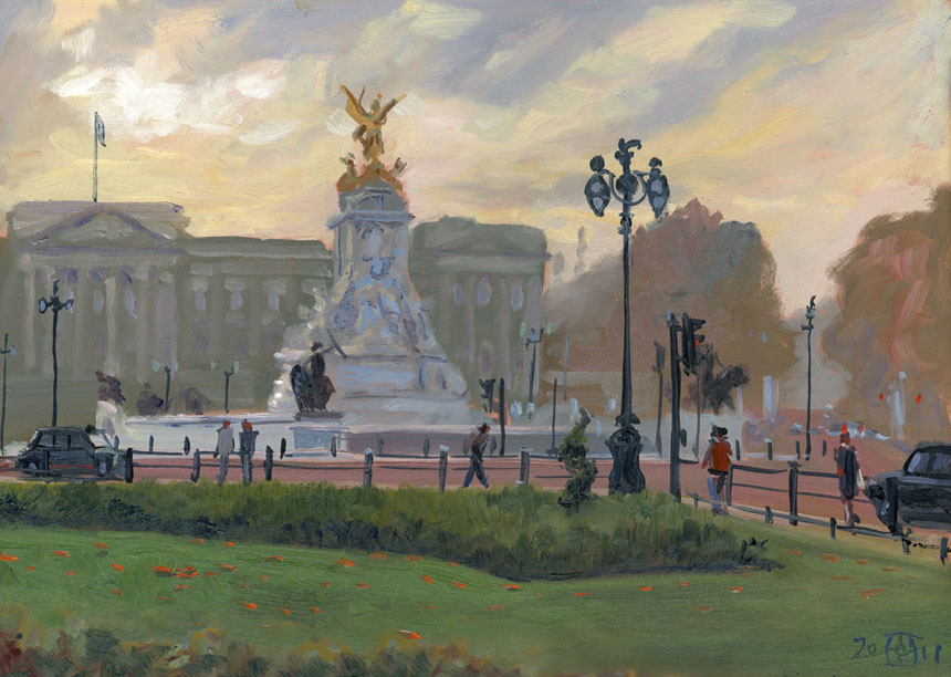 Buckingham Palace, evening, London, Victoria, plein air, oil, Rob Adams