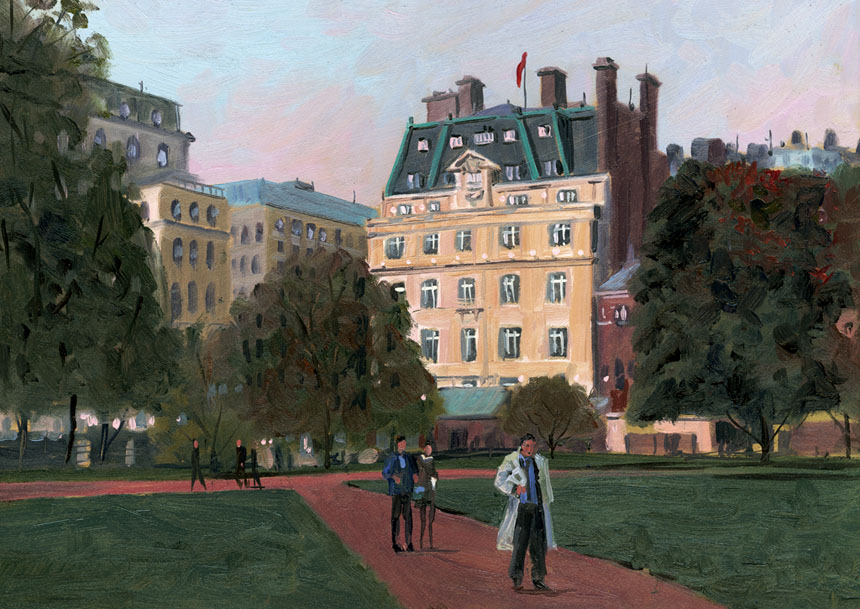 Fortnum and Mason, Green Park, London, plein air, Oil, Rob Adams