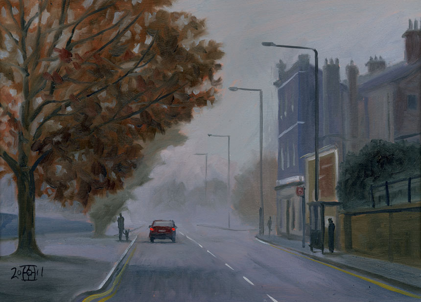 London, Deptford, Fog, oil painting, plein air, Rob Adams
