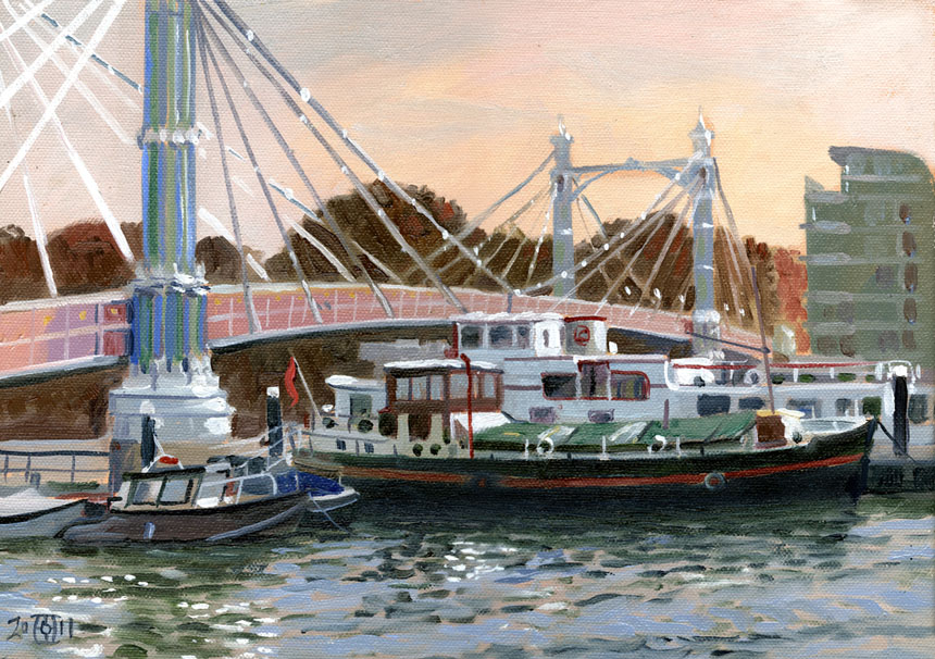 Albert Bridge, Thames, London, Oil painting, Plein air, Rob Adams