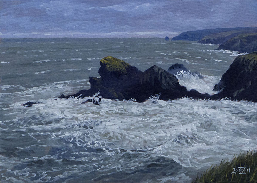 Sea, waves, wales, pembrokeshire, oil painting, plein air, Rob Adams