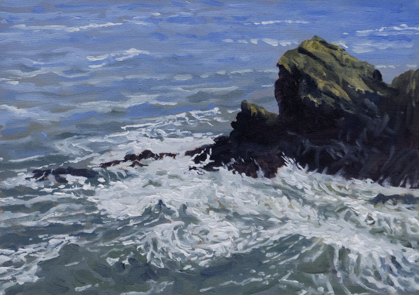 Wales, sea, cliffs, surf, storm, Pembrokeshire, oil Painting, plein air, Rob Adams