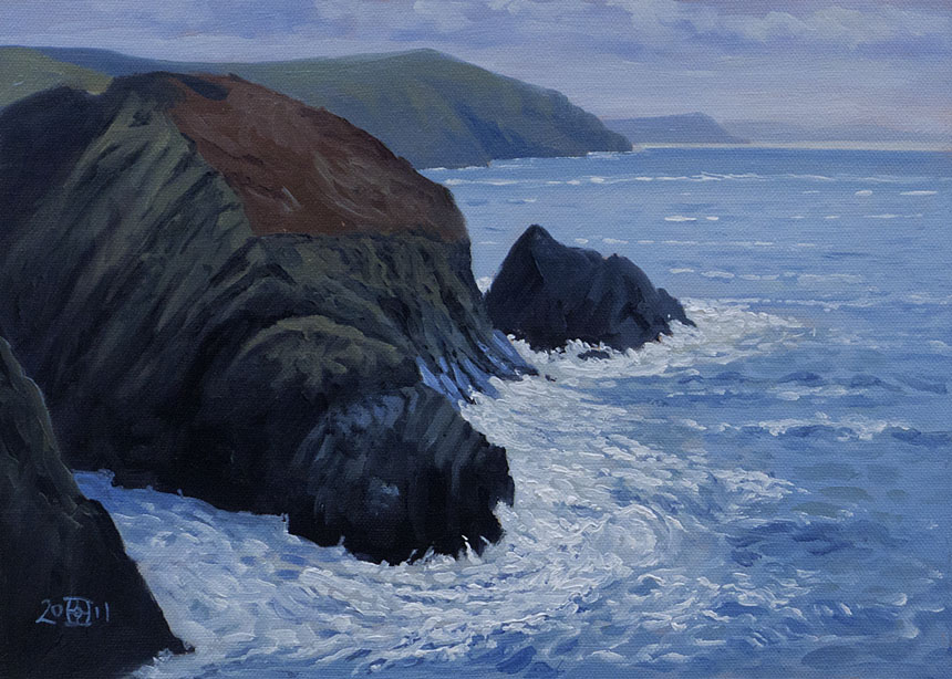 Wales, Pembrokeshire, sea, cliffs, oil painting, plein air, Rob Adams