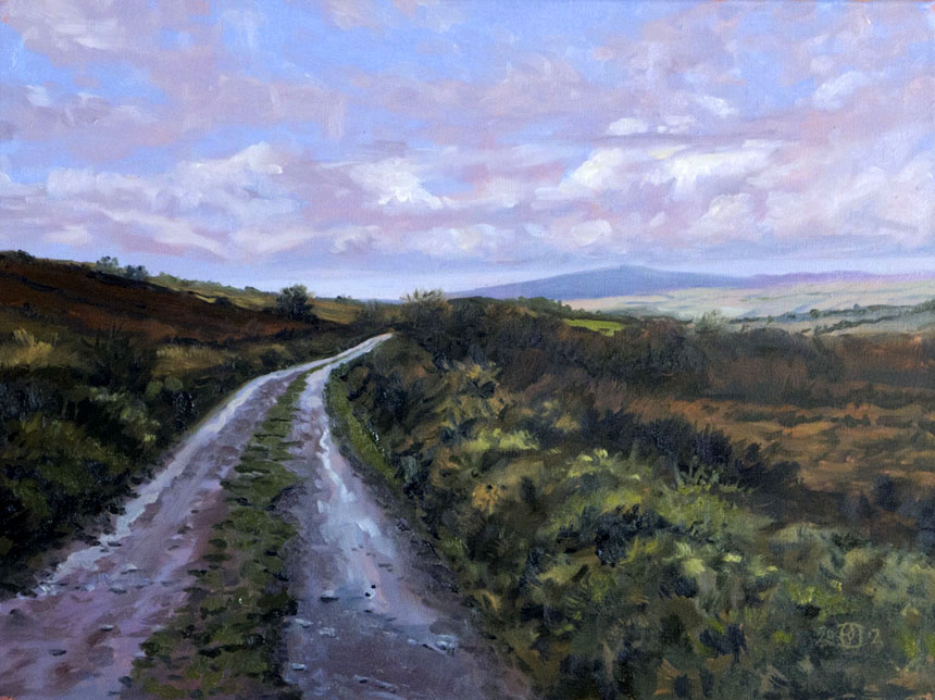 Famine Road, east Clare, Ireland, Eire, oil painting, Rob Adams