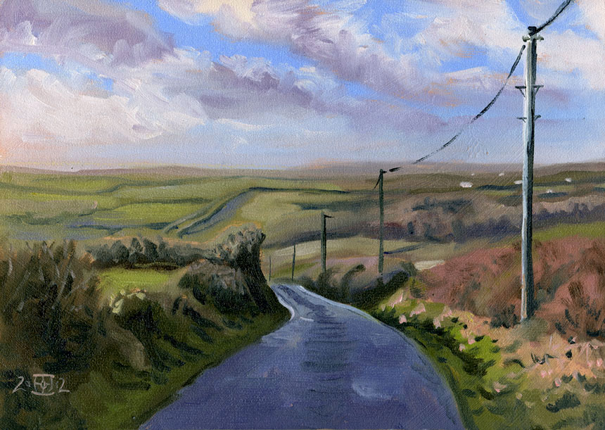 Famine Rd, Oil, painting, Clare, Ireland, Eire, Rob Adams