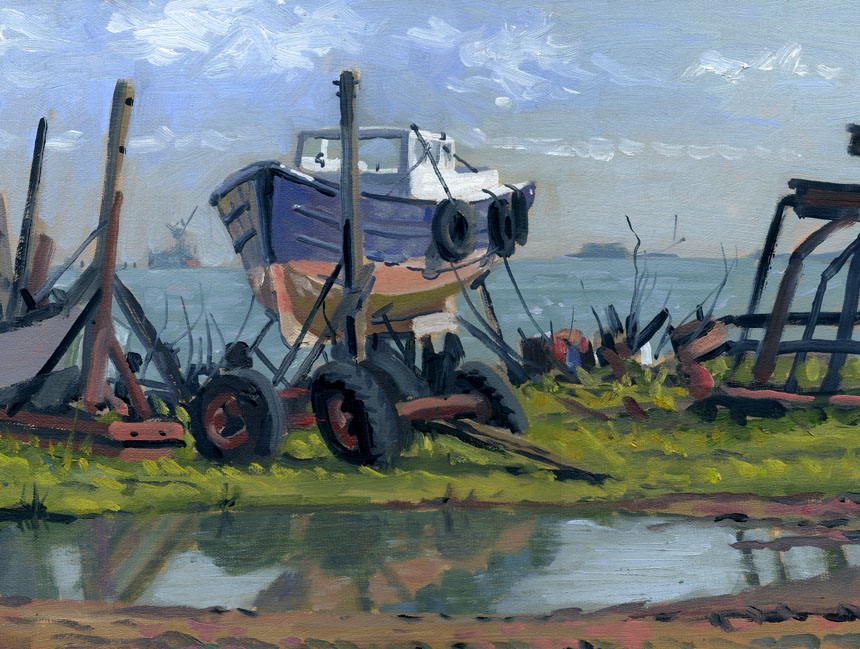 boats, hoo, medway, oils, painting, rob adams