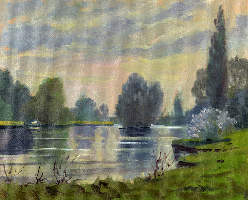 Shiplake, thames, plein air, oils, painting, Rob adams