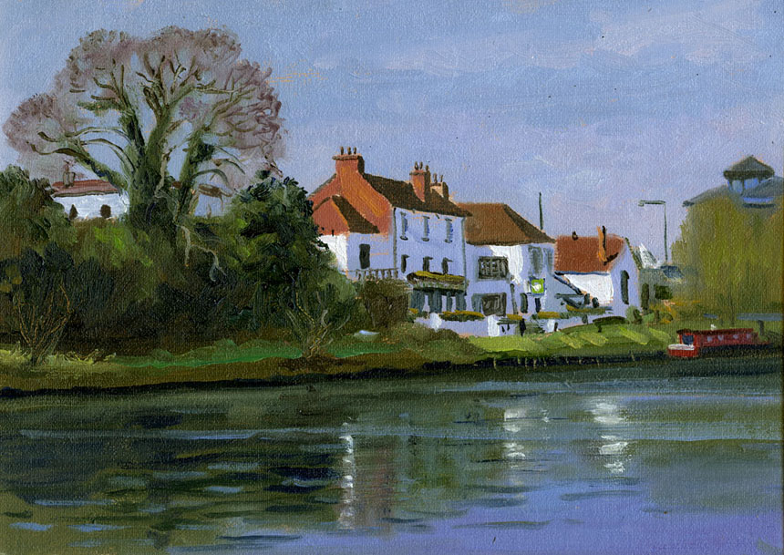 Staines, Thames, River, watercolour, plein air, Rob Adams
