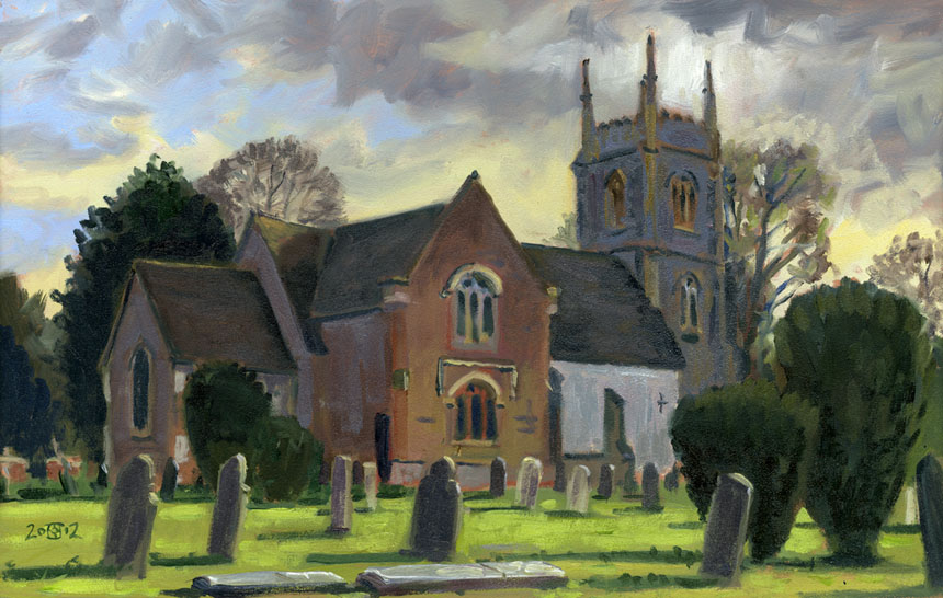 St Mary's,Hartley Wintney, church, oil painting, plein air, rob adams