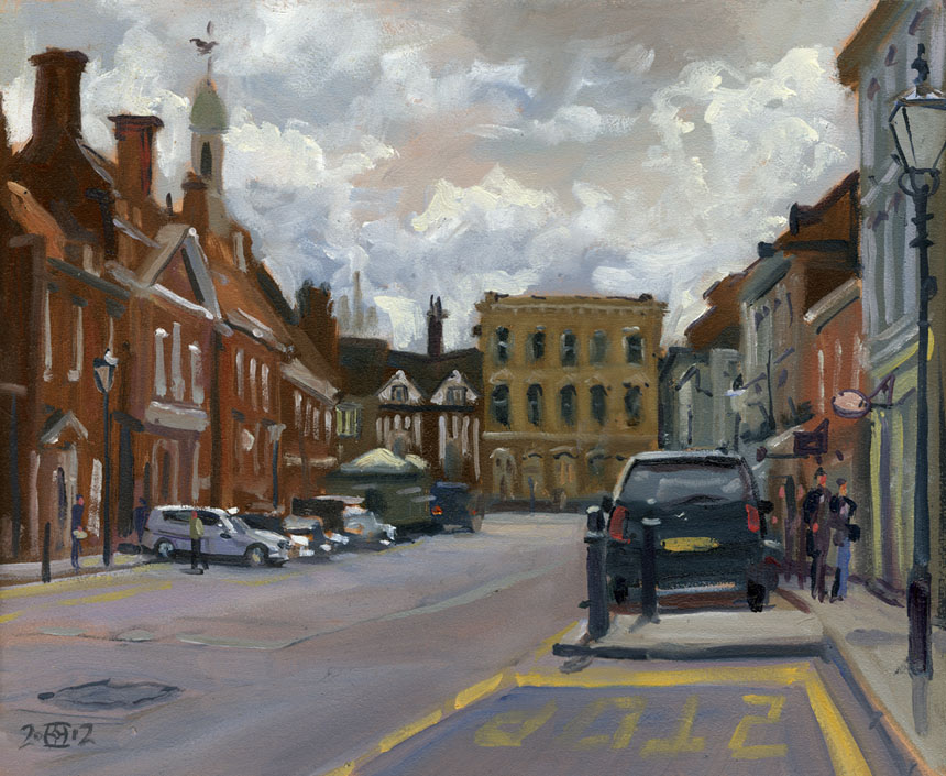 Farnham, street, castle, plein air, oil painting, Rob Adams