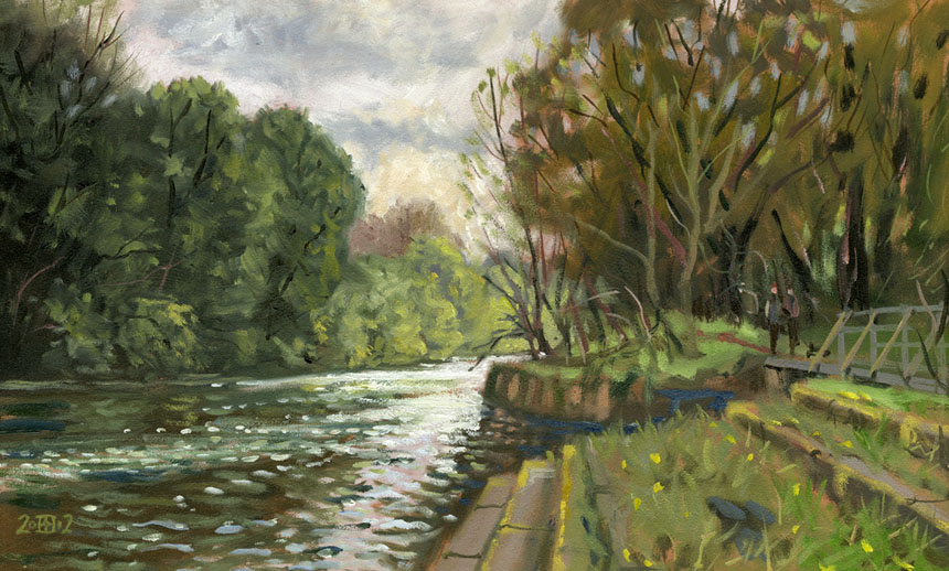 Runnymede, thames, river, plein air, oil painting, Rob Adams