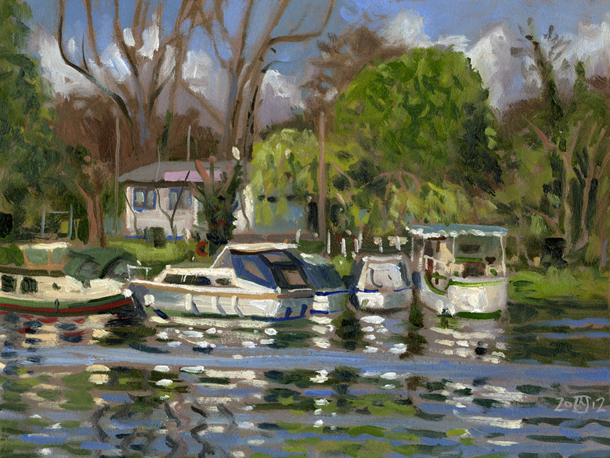 Runnymede, thames, oil painting, Rob Adams, plein air