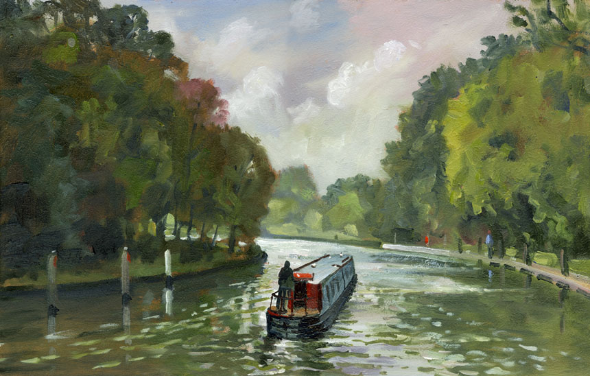 Bray, lock, barge, thames, plein air, oils, painting