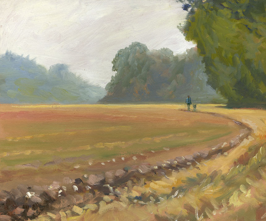 Mapledurham, berkshire, rain, field, plein air