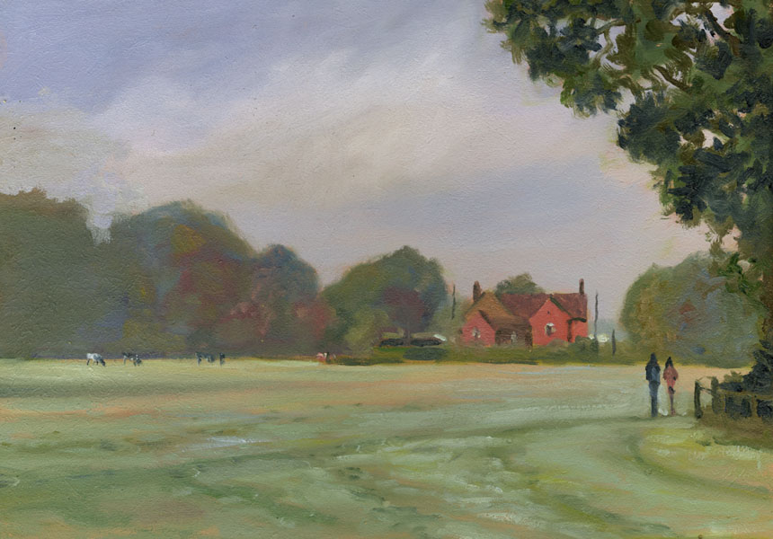 Yateley, Surrey, Field, plein air, oils, painting