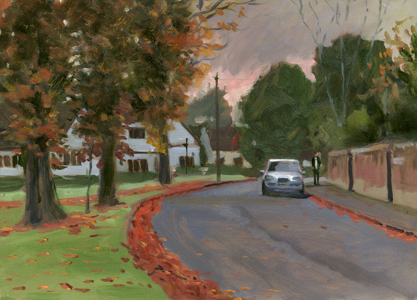 Yateley, Surrey, Autumn, plein air, trees, fall, oils, painting