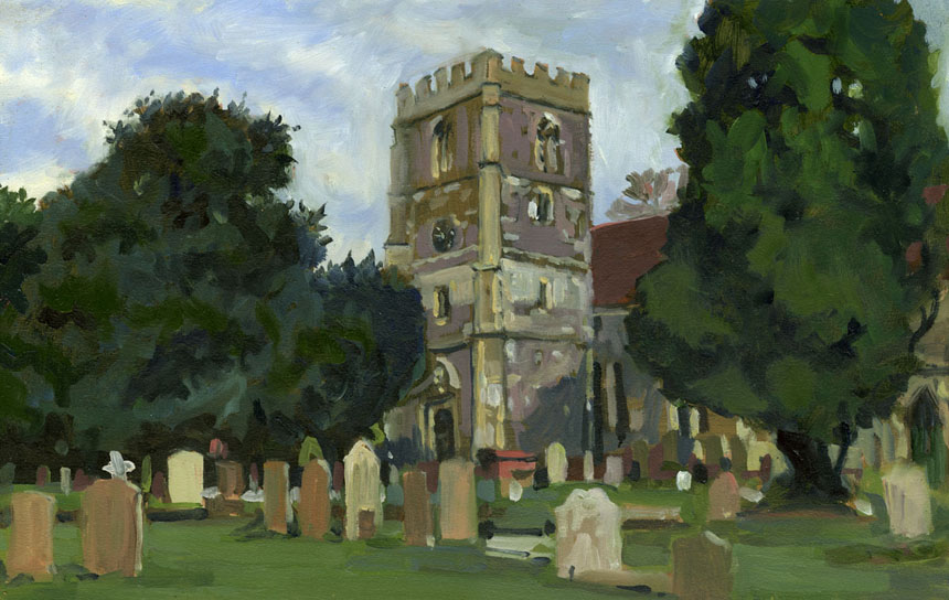 Bray, Surrey, Plein air, oils painting, church, graveyard