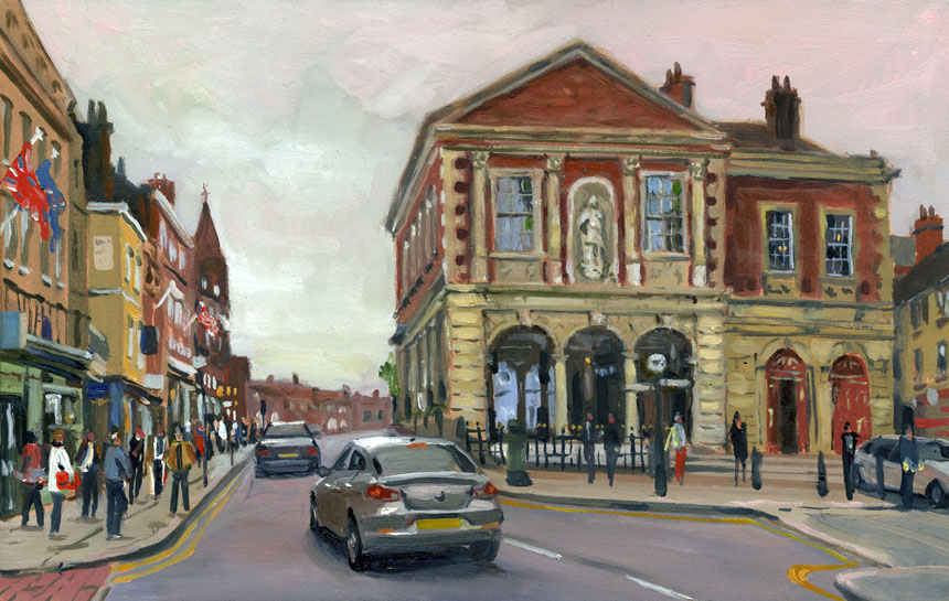 Windsor, guildhall, town, street, plein air, oils, painting