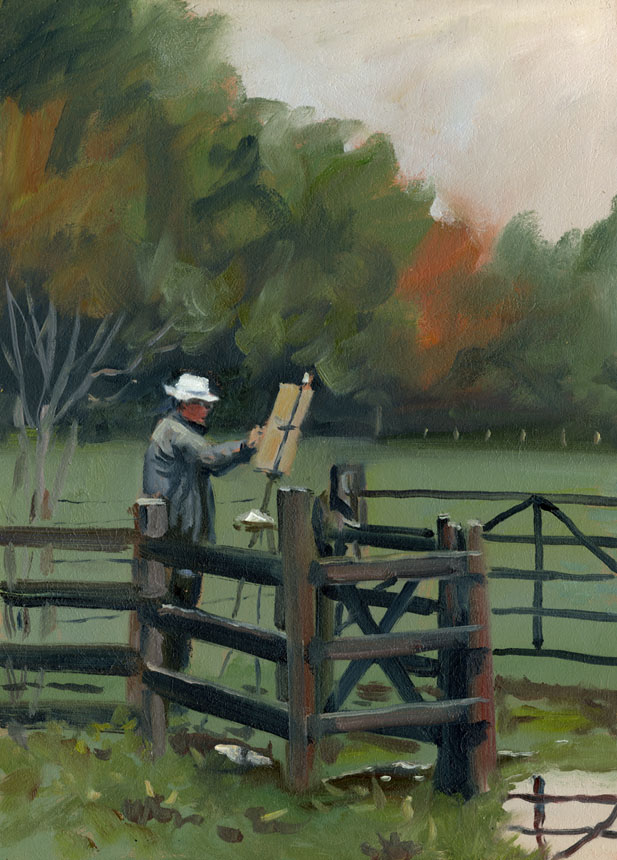 Mike Richardson, fence, plein air, surrey