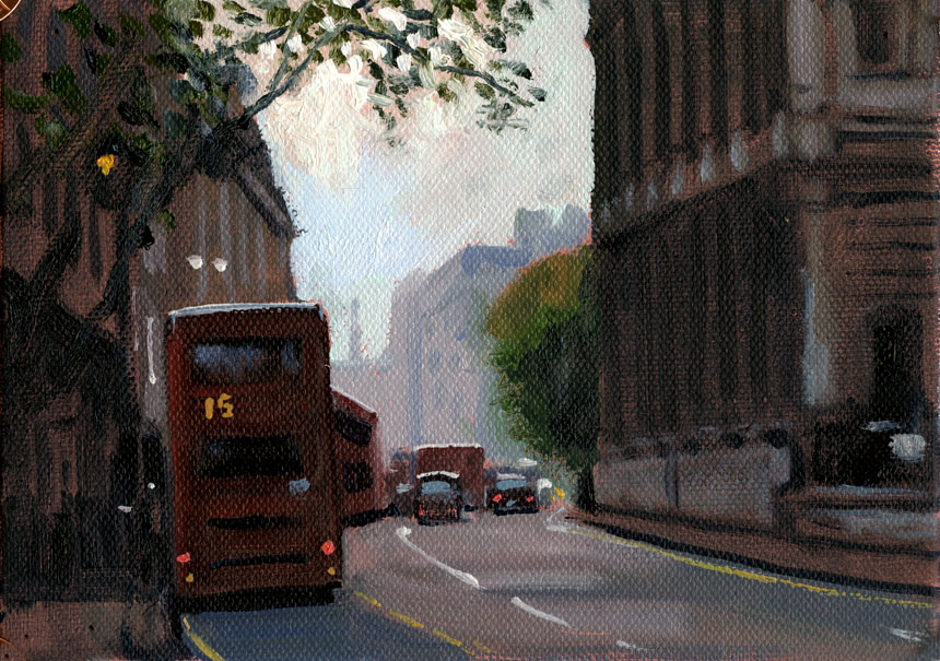 London, church, Strand, oil painting, plein air