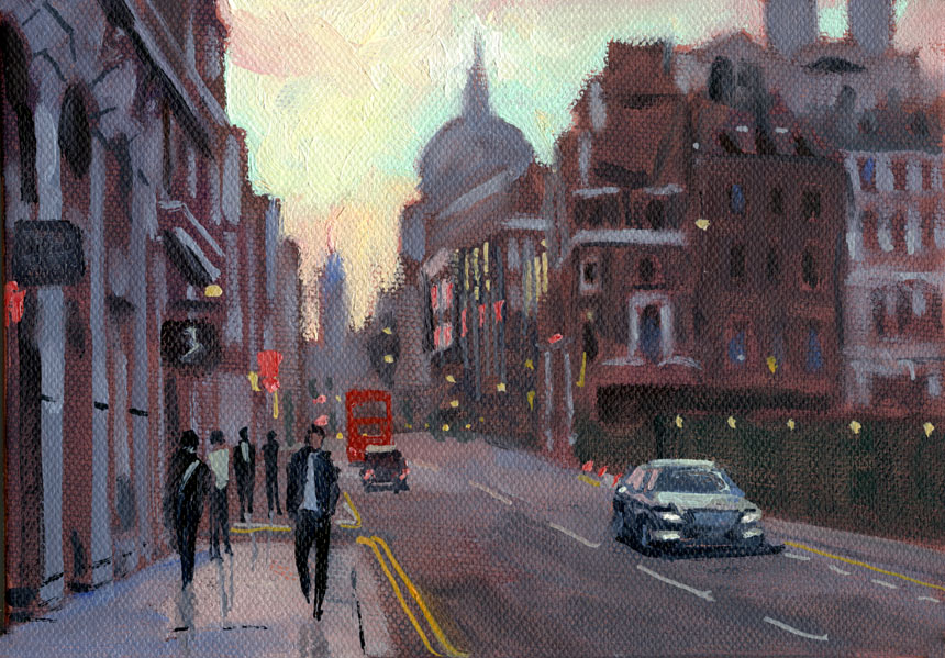 St Pauls, cannon st, London, oil painting, plein air