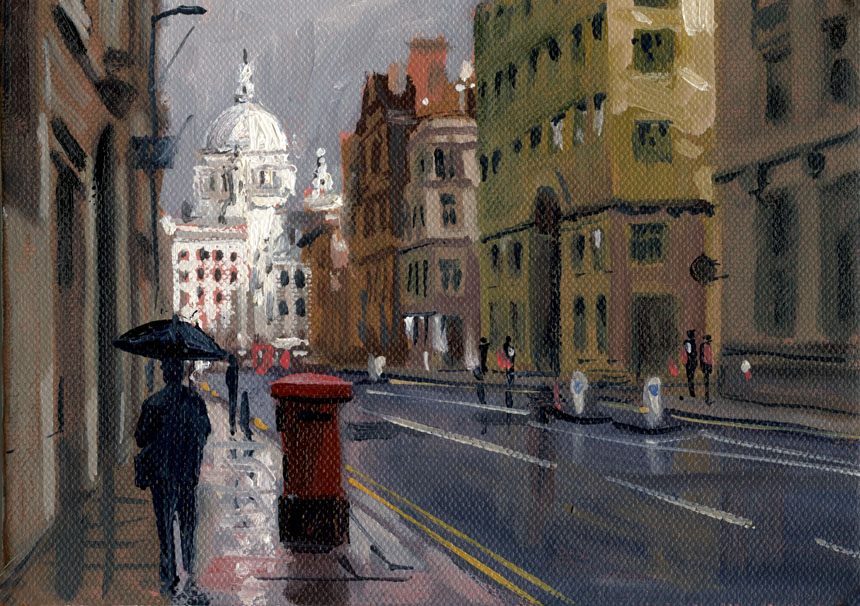 St Pauls, London, fleet st, cathedral, oil painting, plein air.