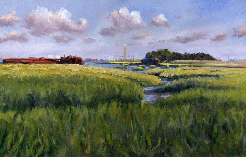 Medway, Thames, river, plein air, oil painting