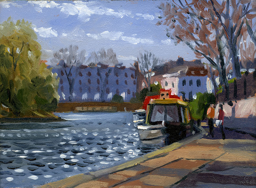 little venice, london, brass monkeys, canal, barge, plein air.