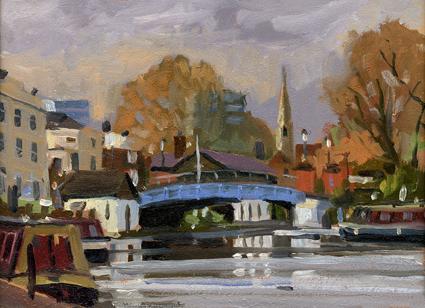 Brass Monkeys, plein air, oil painting, London, canal, barge, bridge