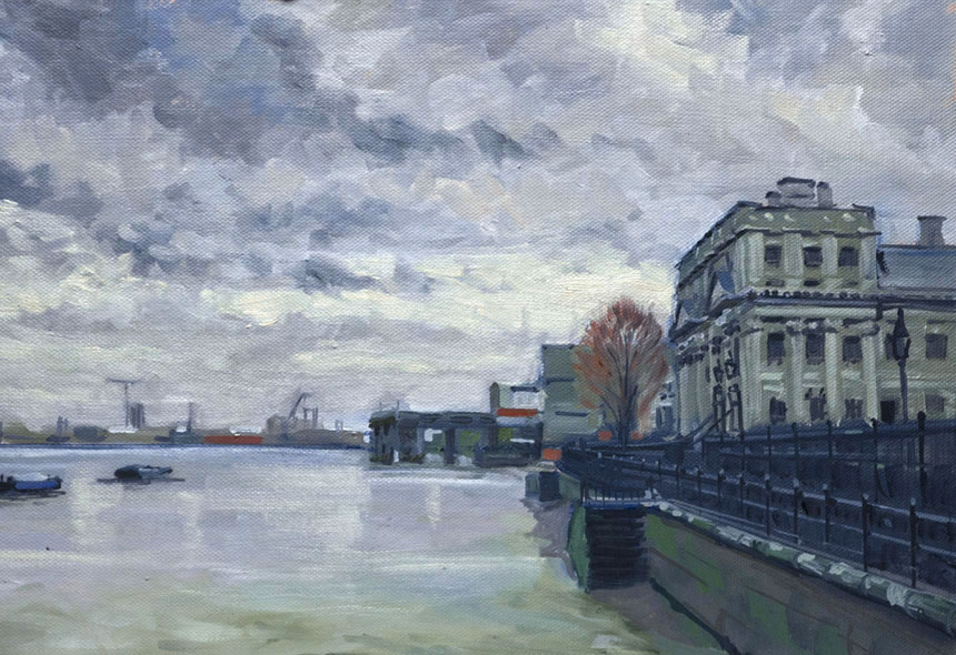 Greenwich, plein air, oil, painting, Thames, London