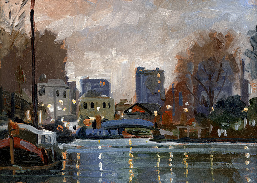 Little venice, London, Canal, nocturne, plein air, oil painting
