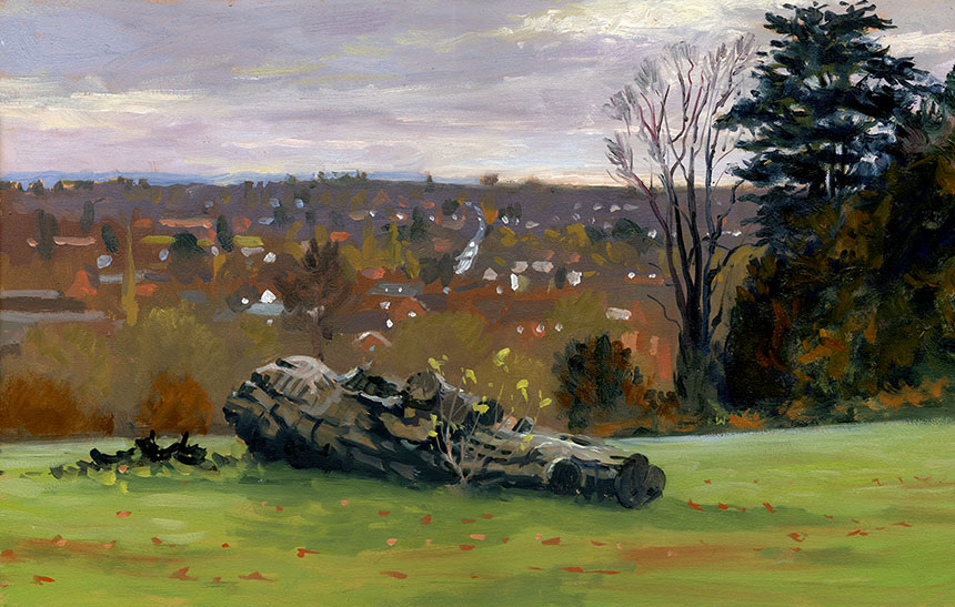 farnham, town, park, plein air, oil painting