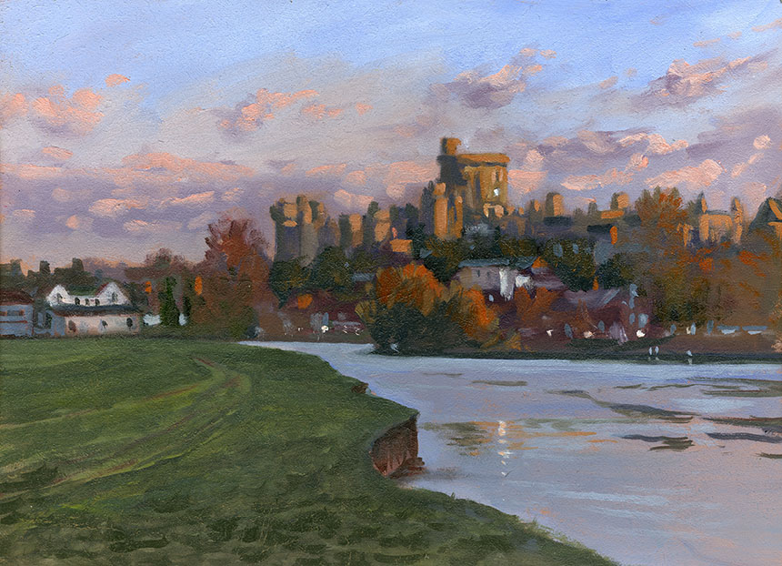 Windsor, thames, river, castle, plein air, oil painting