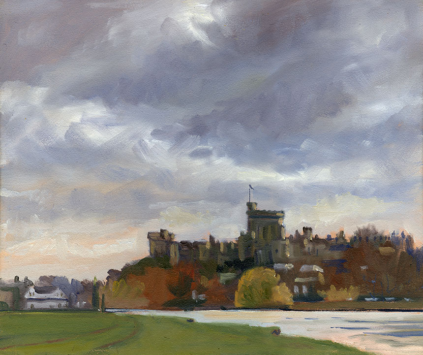 windsor castle, eton, thames, plein air, oil painting