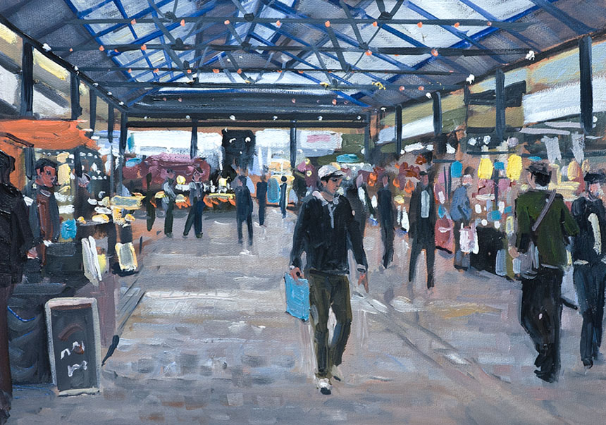 Greenwich, market, painting, London, oils, plein air