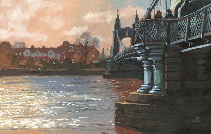 thames, hammersmith, london, oil painting, pleinair