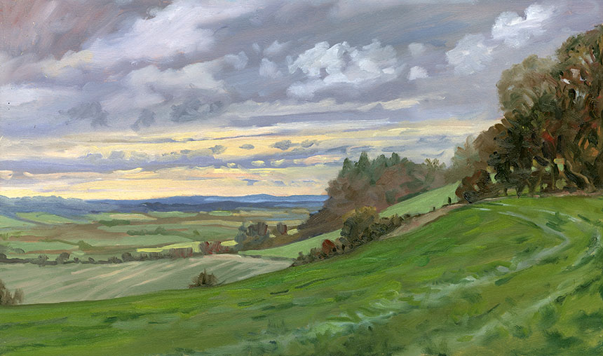 Hogs Trough Hill, plein air, oil painting
